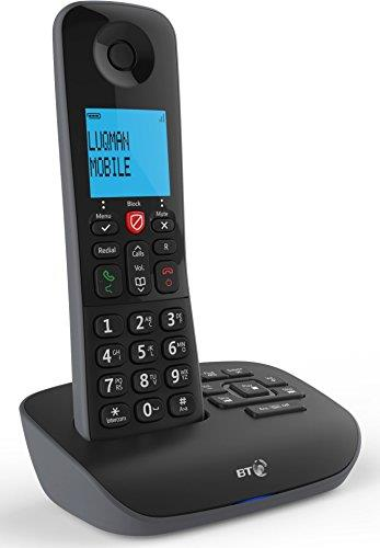 BT Premium Cordless Home Phone with 100/% Nuisance Call Blocking Trio Handset Pack Mobile sync and Answering Machine
